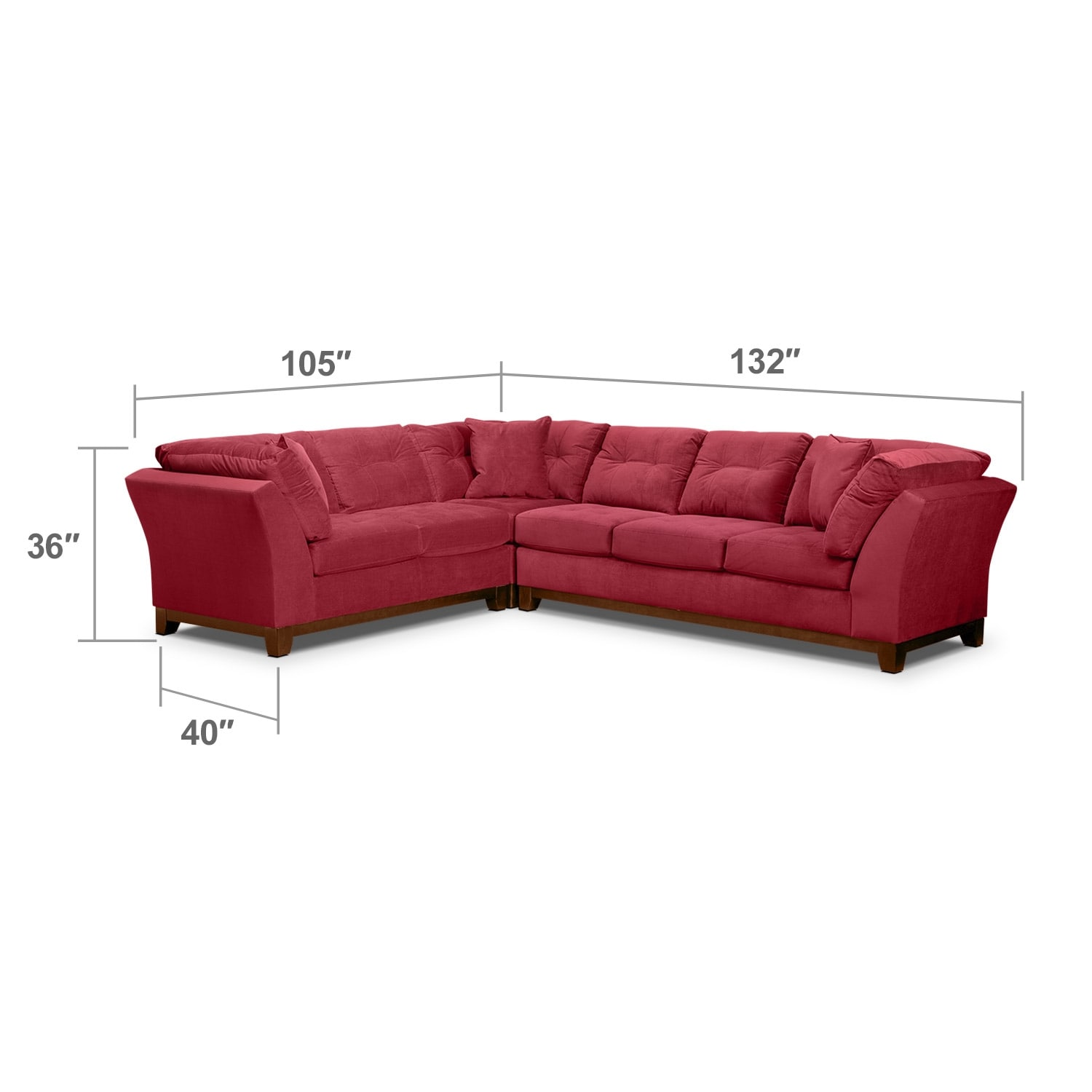 Living Room Furniture - Solace 3-Piece Right-Facing Sofa Sectional - Poppy