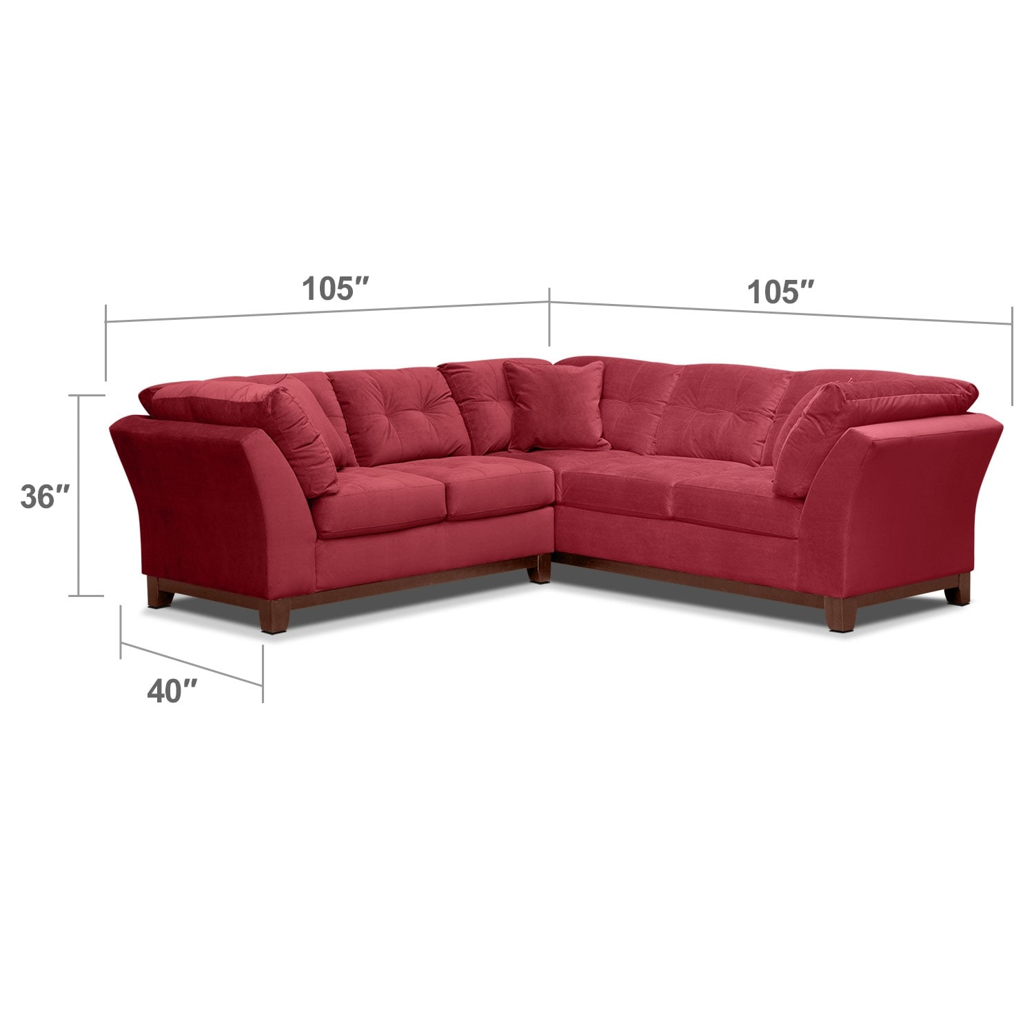"""Living Room Furniture - Solace 2-Piece Right-Facing 105"""" Sofa Sectional - Poppy"""
