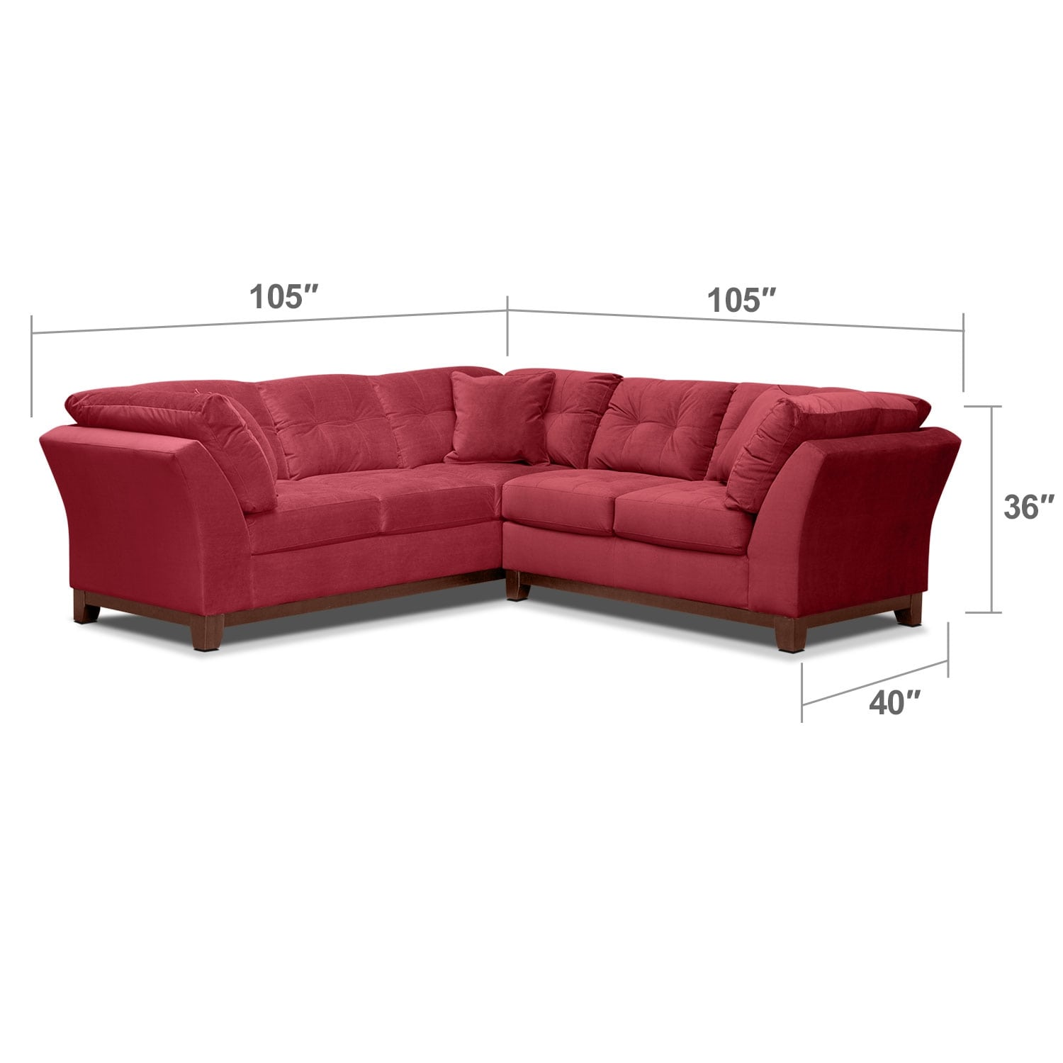 "Living Room Furniture - Solace 2-Piece Left-Facing 105"" Sofa Sectional - Poppy"