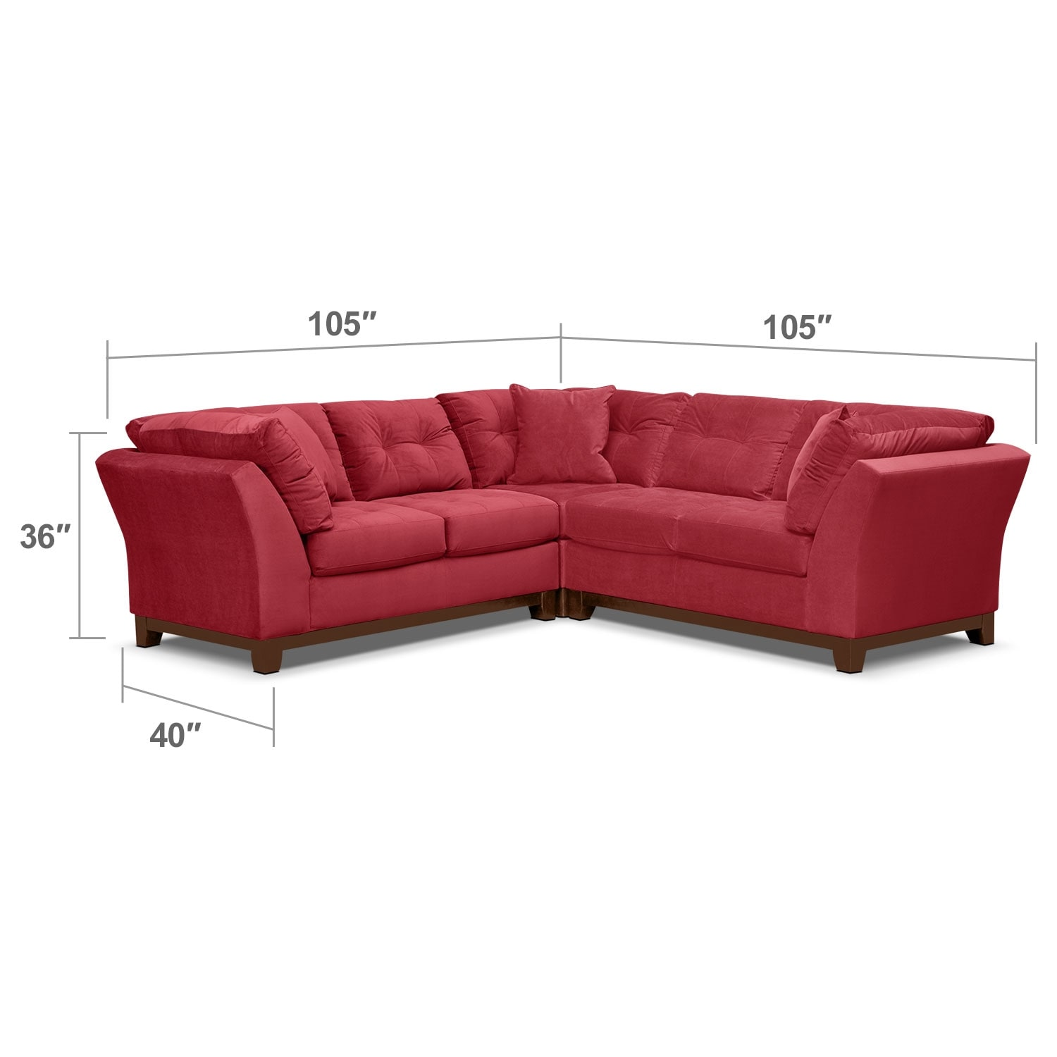 Living Room Furniture - Solace Poppy II 3 Pc. Sectional (Alternate)