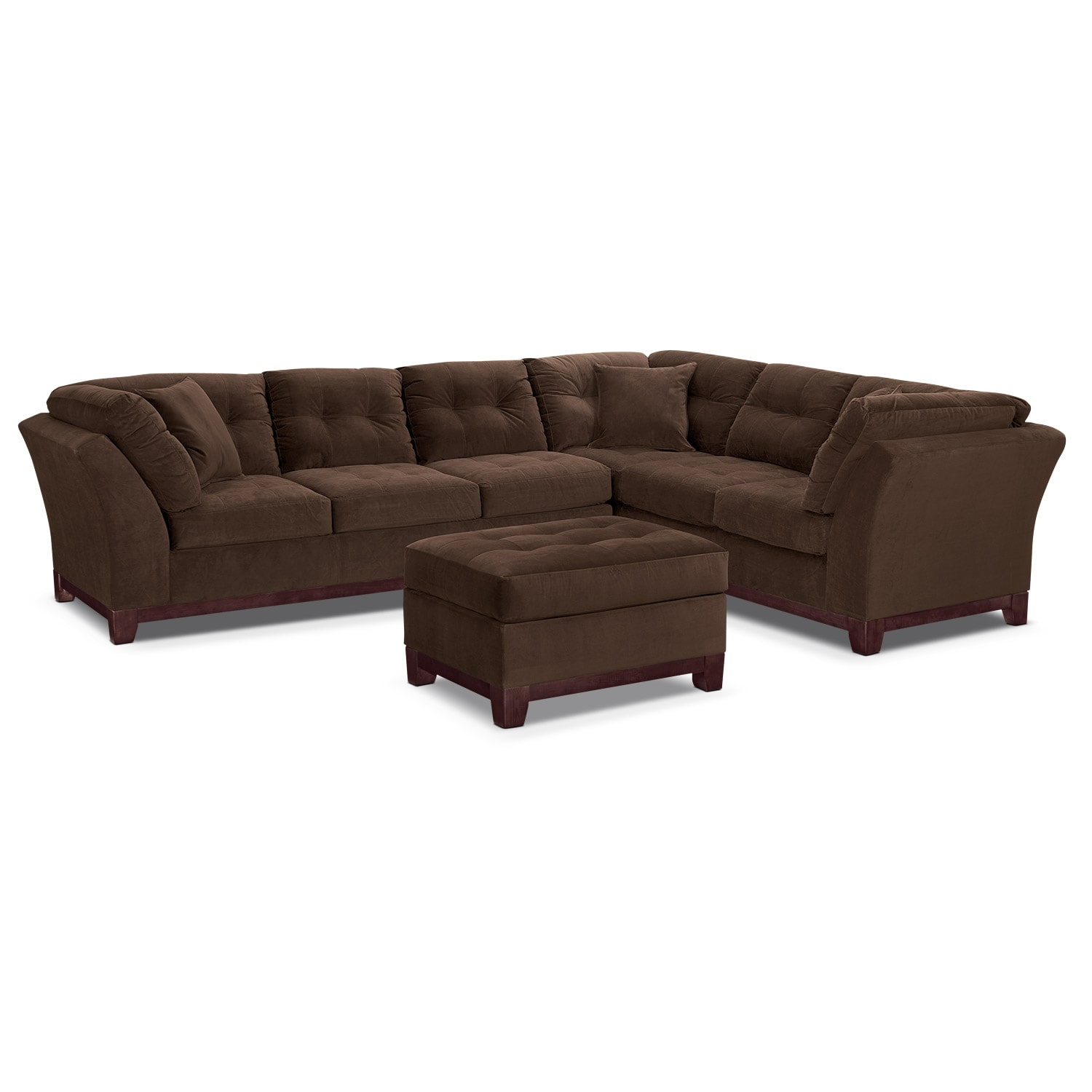 Living Room Furniture - Solace Chocolate II 3 Pc. Sectional (Reverse) and Ottoman