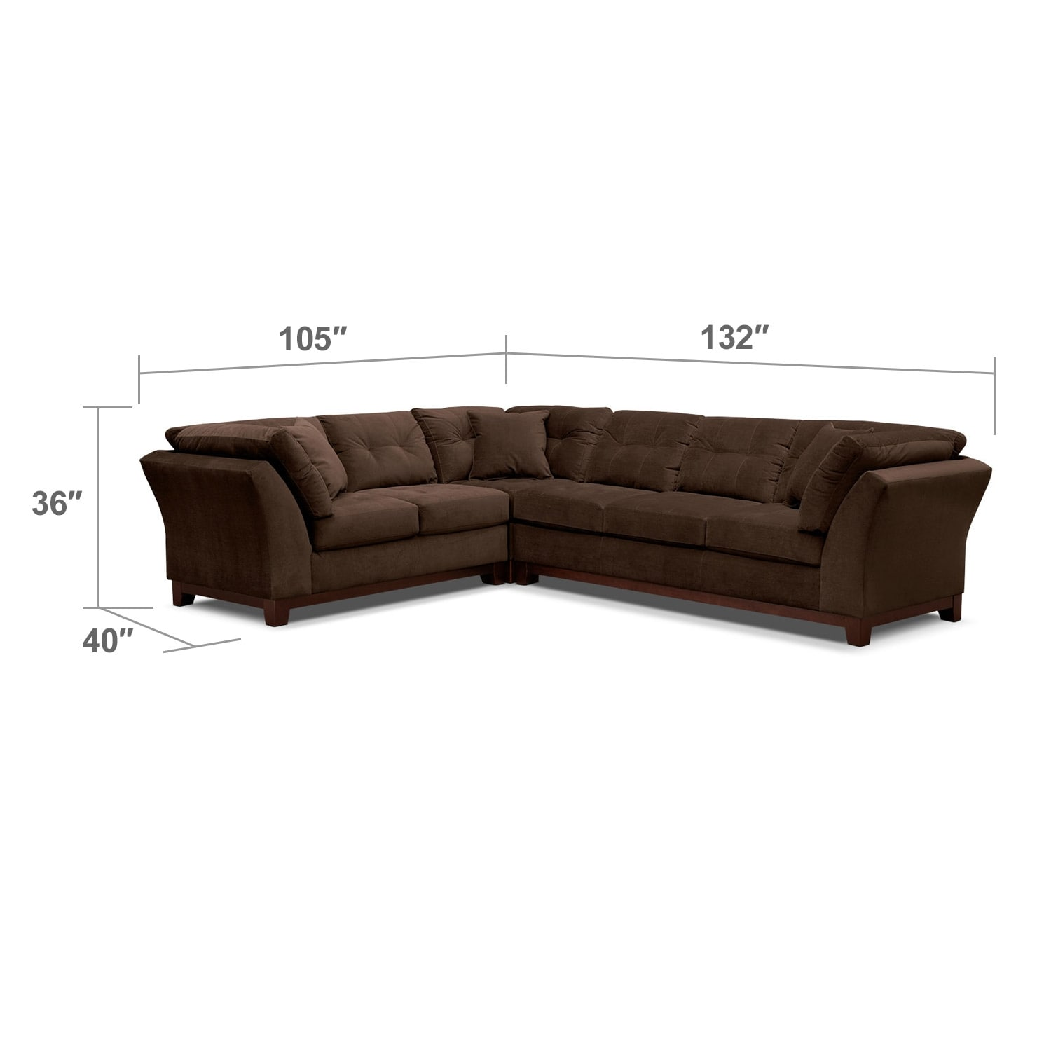 Living Room Furniture - Solace 3-Piece Right-Facing Sofa Sectional - Chocolate