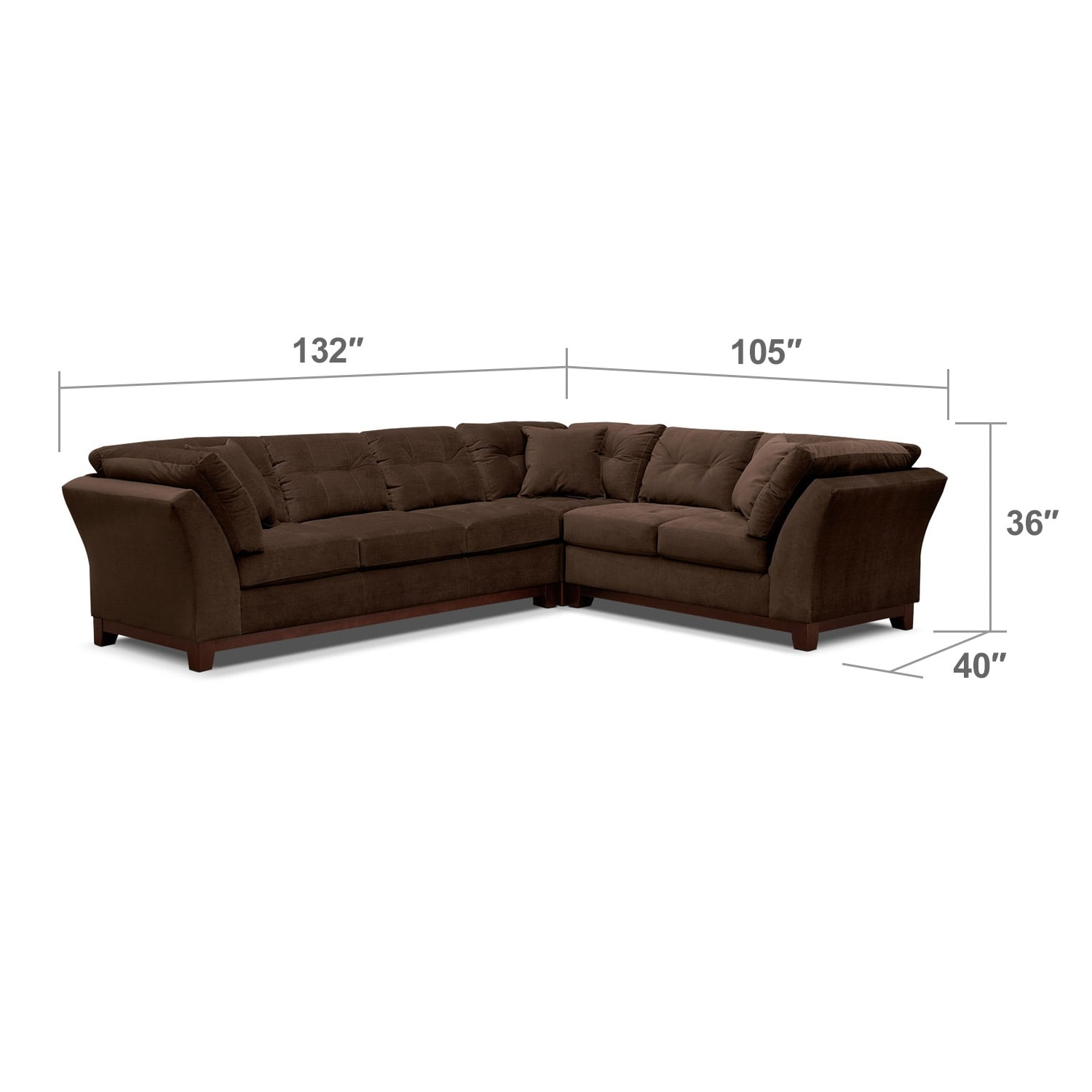 Living Room Furniture - Solace 3-Piece Left-Facing Sofa Sectional - Chocolate