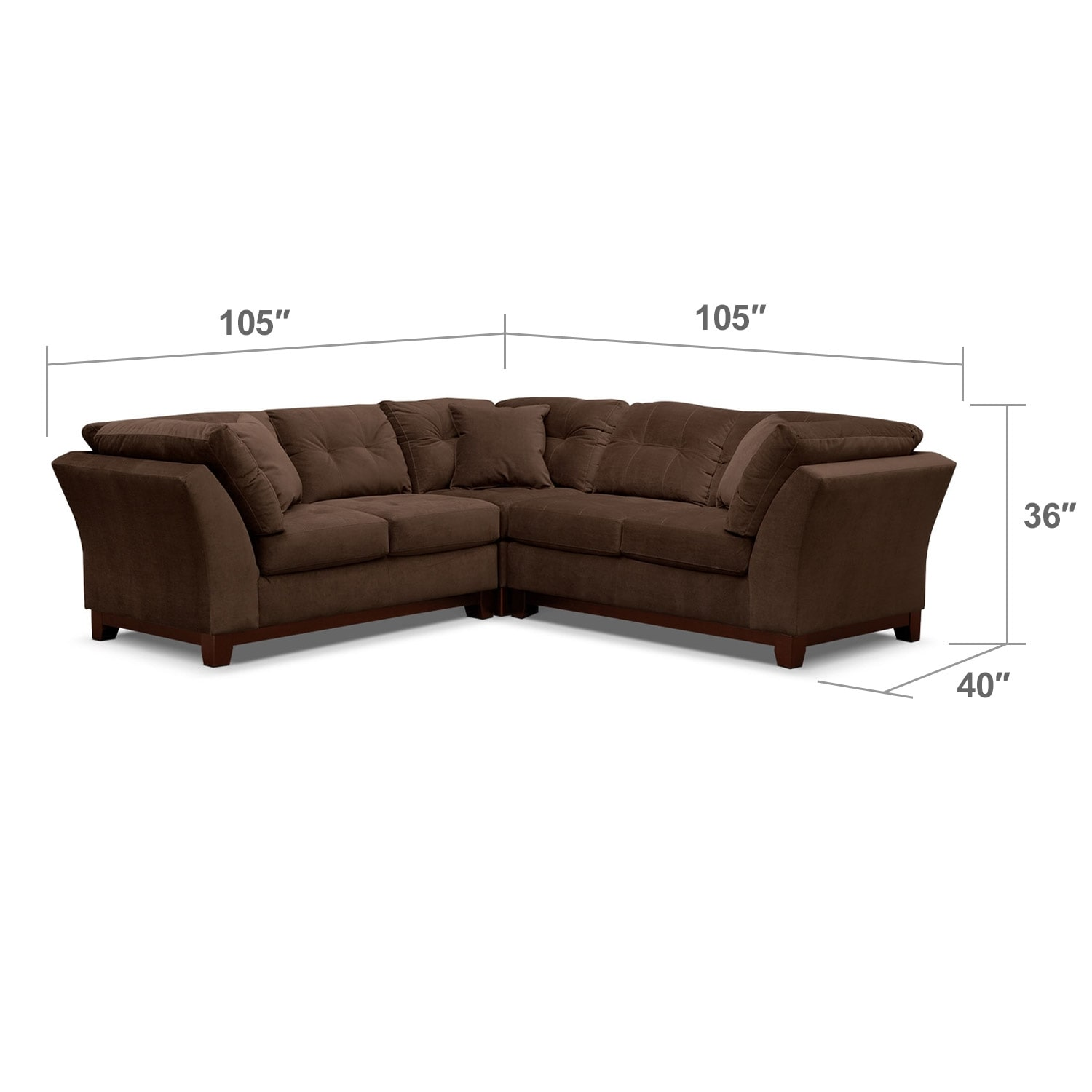 Living Room Furniture - Solace Chocolate II 3 Pc. Sectional (Alternate)