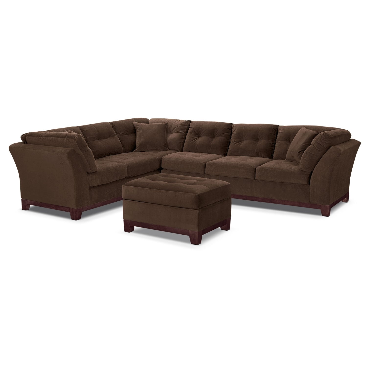 Living Room Furniture - Solace Chocolate II 2 Pc. Sectional and Ottoman