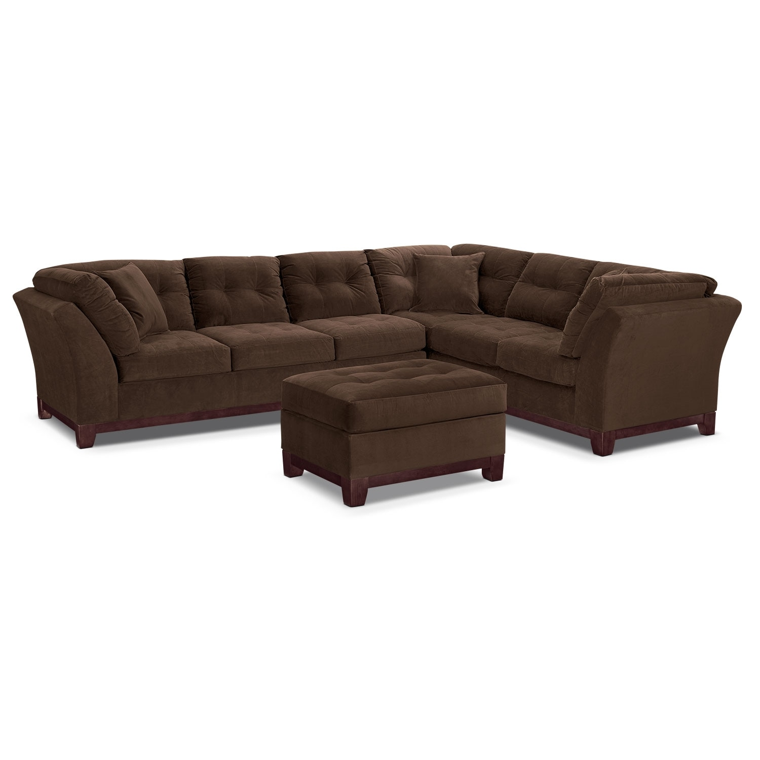Living Room Furniture - Solace Chocolate II 2 Pc. Sectional (Reverse) and Ottoman