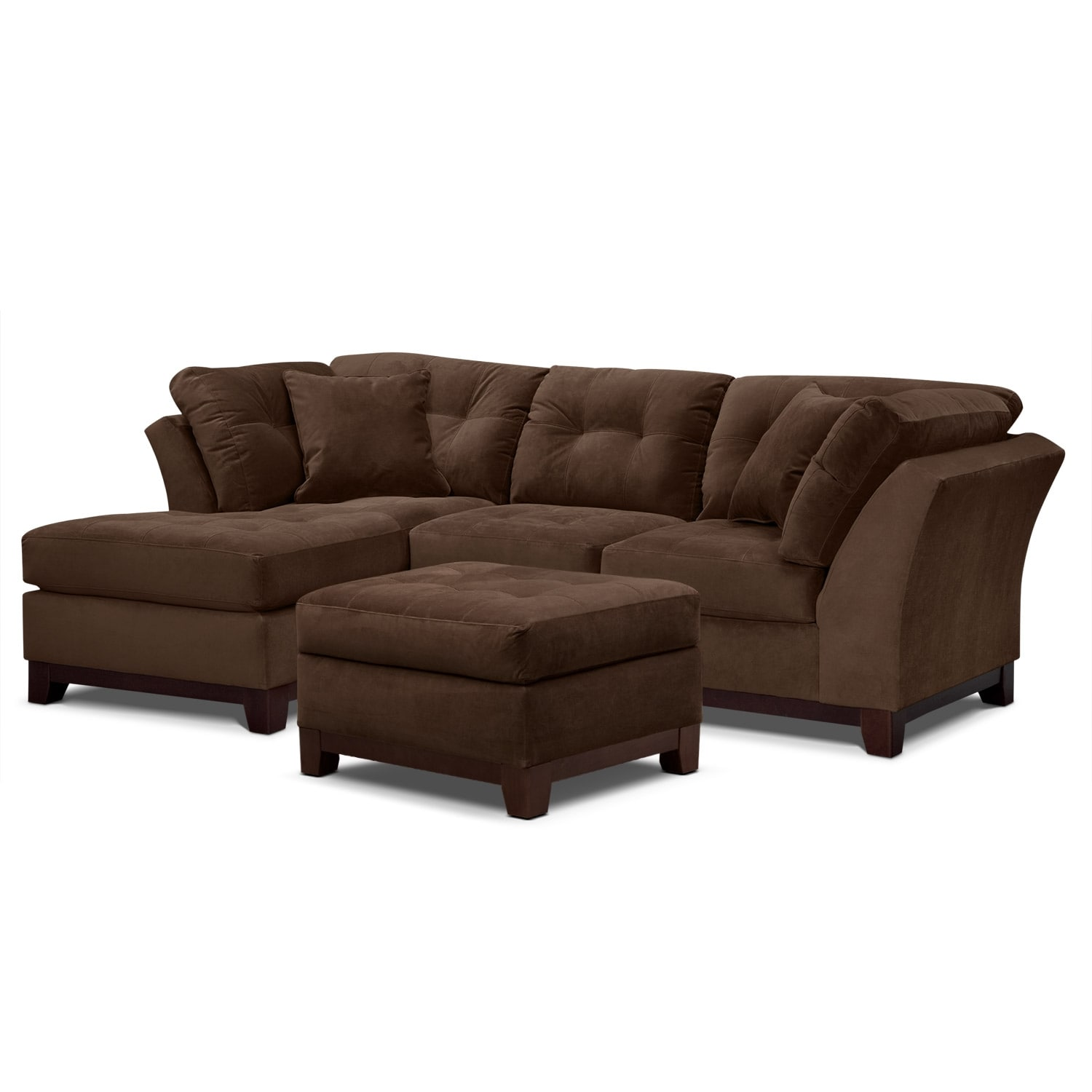 Living Room Furniture - Solace Chocolate II 2 Pc. Sectional (Alternate) and Ottoman