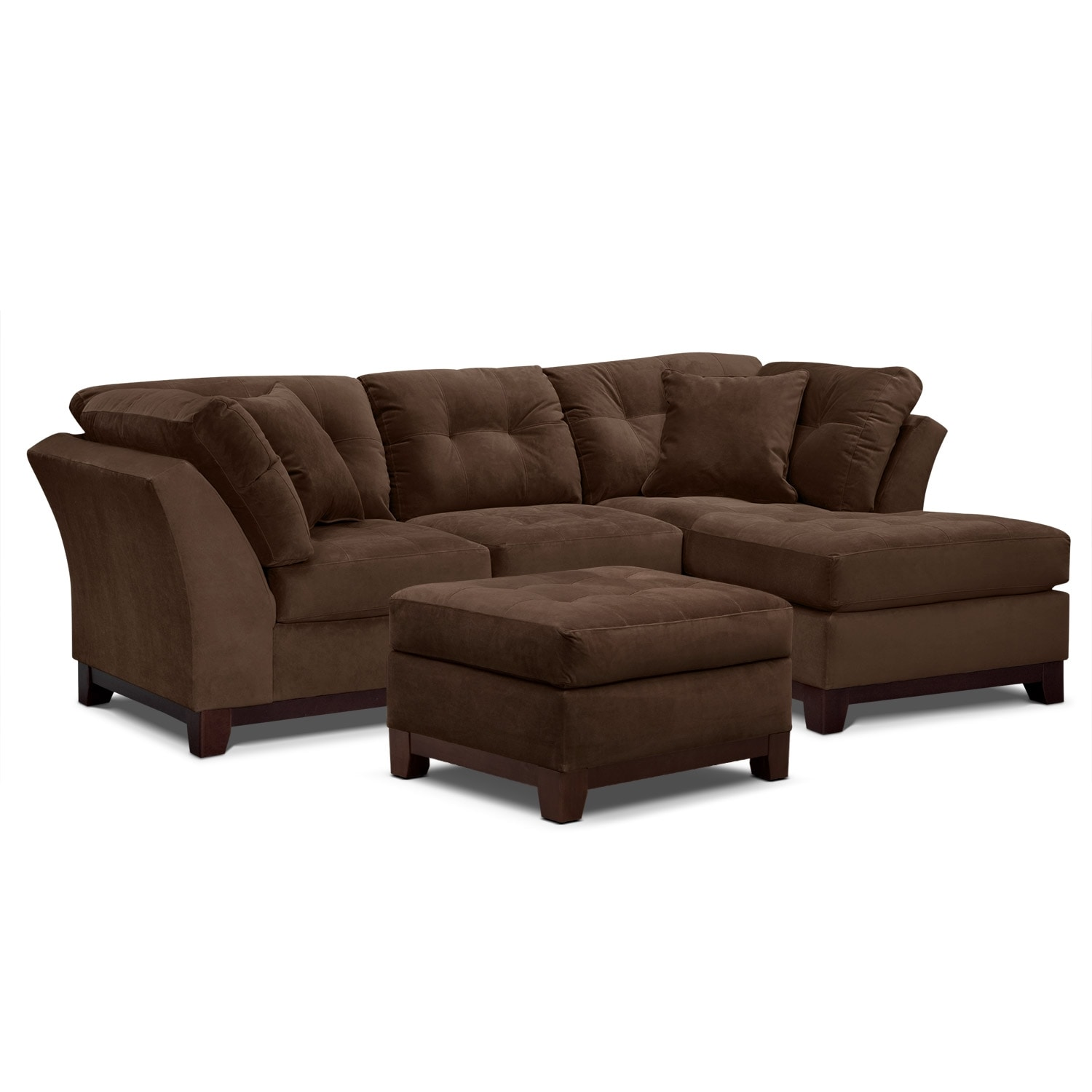 Living Room Furniture - Solace Chocolate II 2 Pc. Sectional (Alternate Reverse) and Ottoman