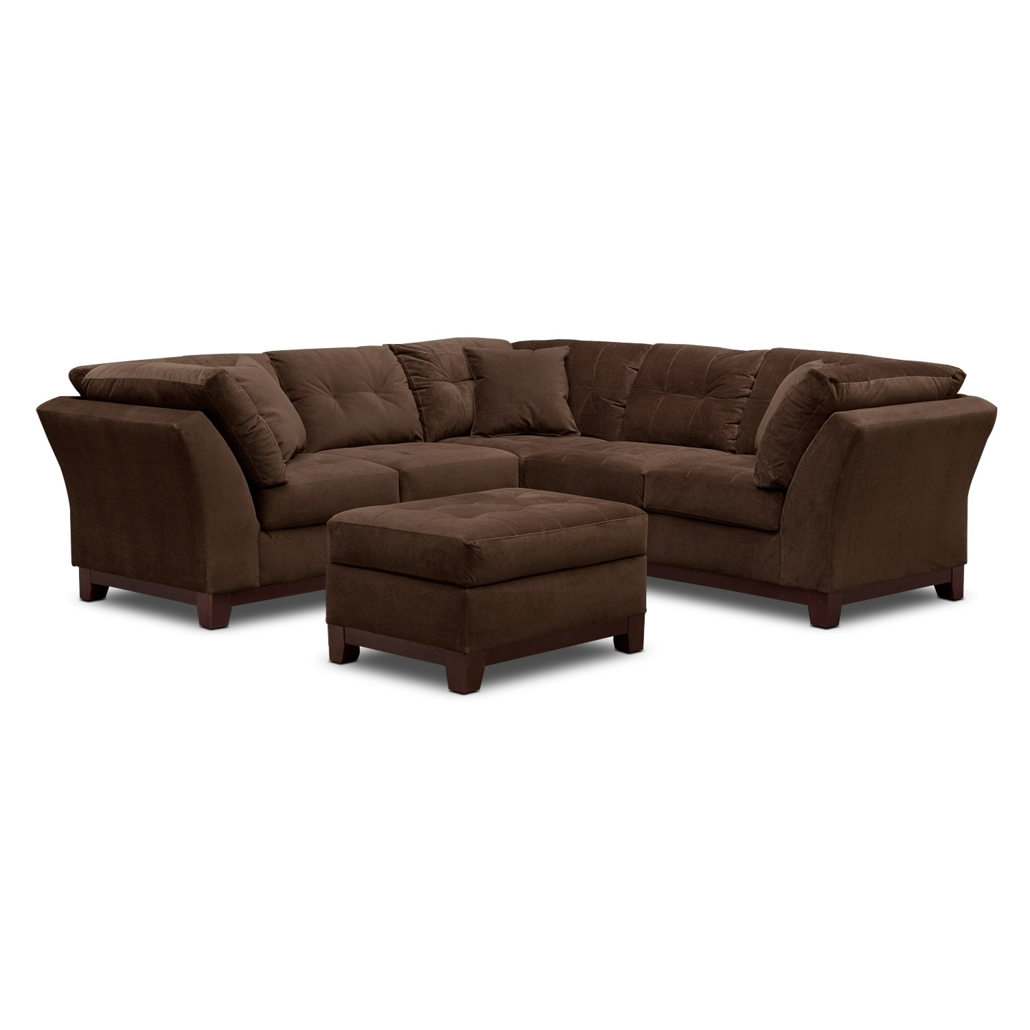 Living Room Furniture - Solace Chocolate II 2 Pc. Sectional (Alternate II) and Ottoman