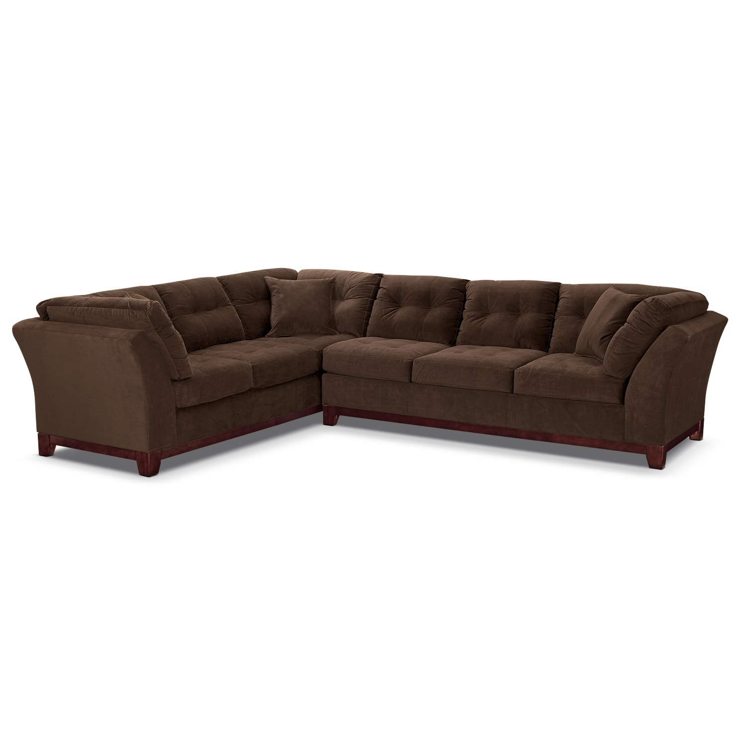 "Living Room Furniture - Solace 2-Piece Right-Facing 132"" Sofa Sectional - Chocolate"
