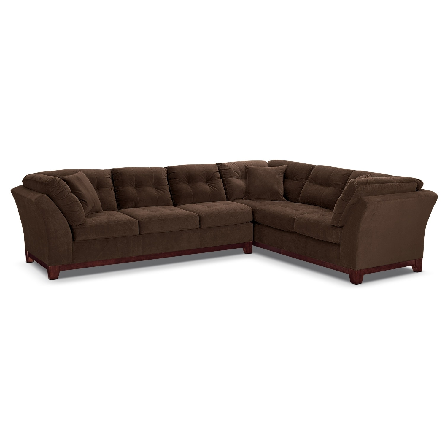 """Living Room Furniture - Solace 2-Piece Left-Facing 132"""" Sofa Sectional - Chocolate"""