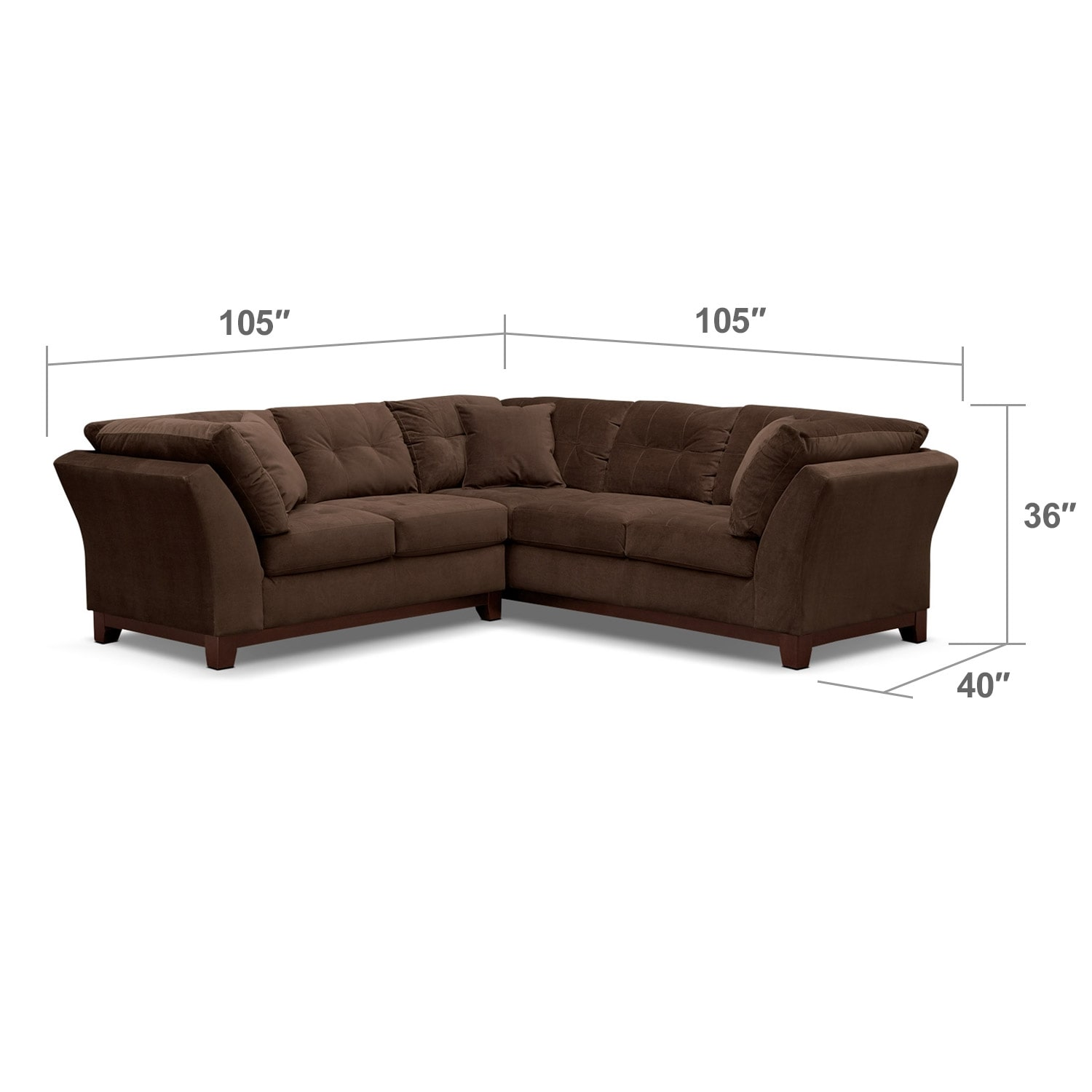 Living Room Furniture - Solace Chocolate II 2 Pc. Sectional (Alternate II)
