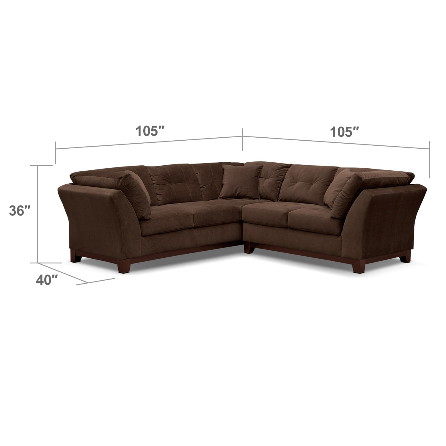 Living Room Furniture - Solace Chocolate II 2 Pc. Sectional (Alternate II Reverse)
