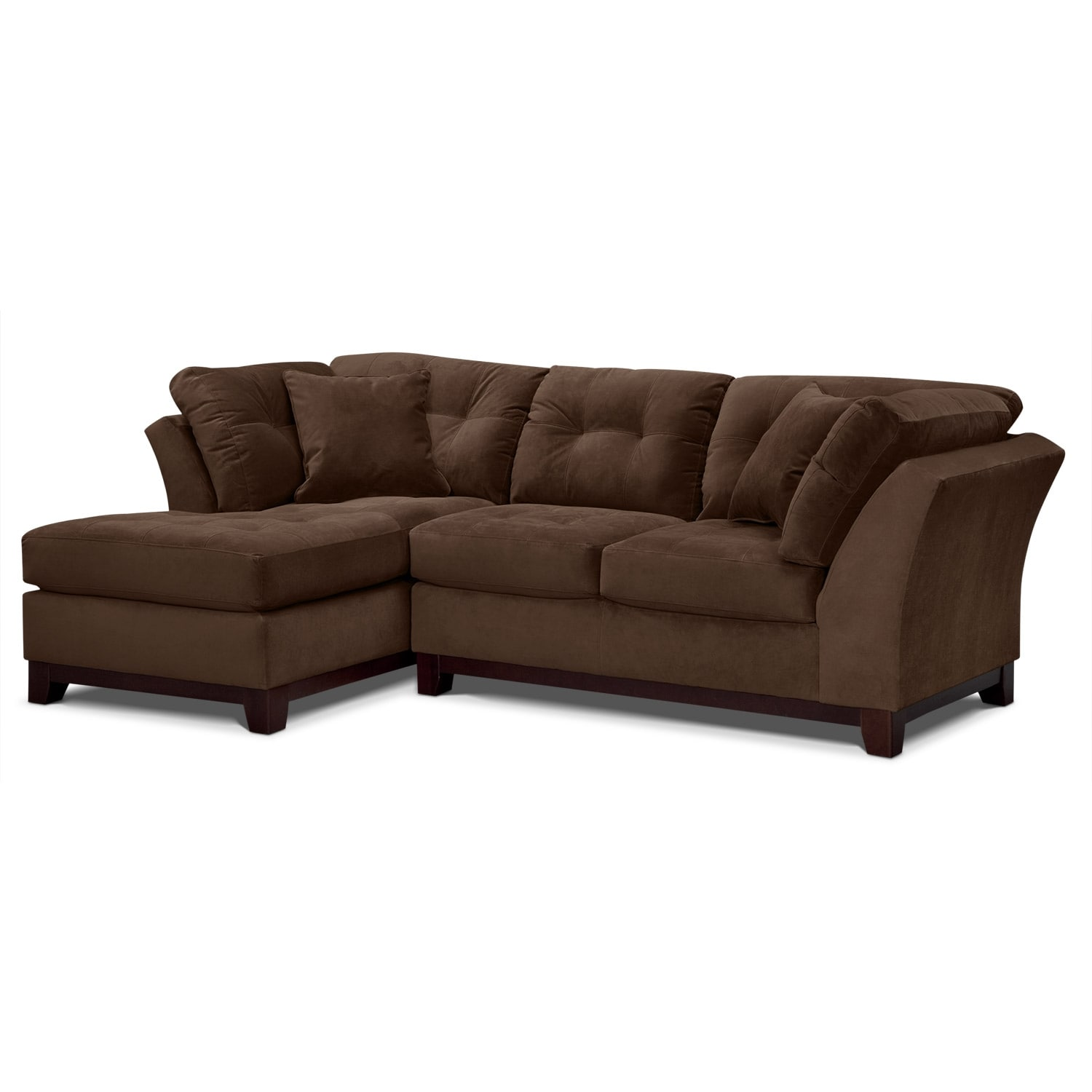 Solace 2-Piece Left-Facing Chaise Sectional - Chocolate