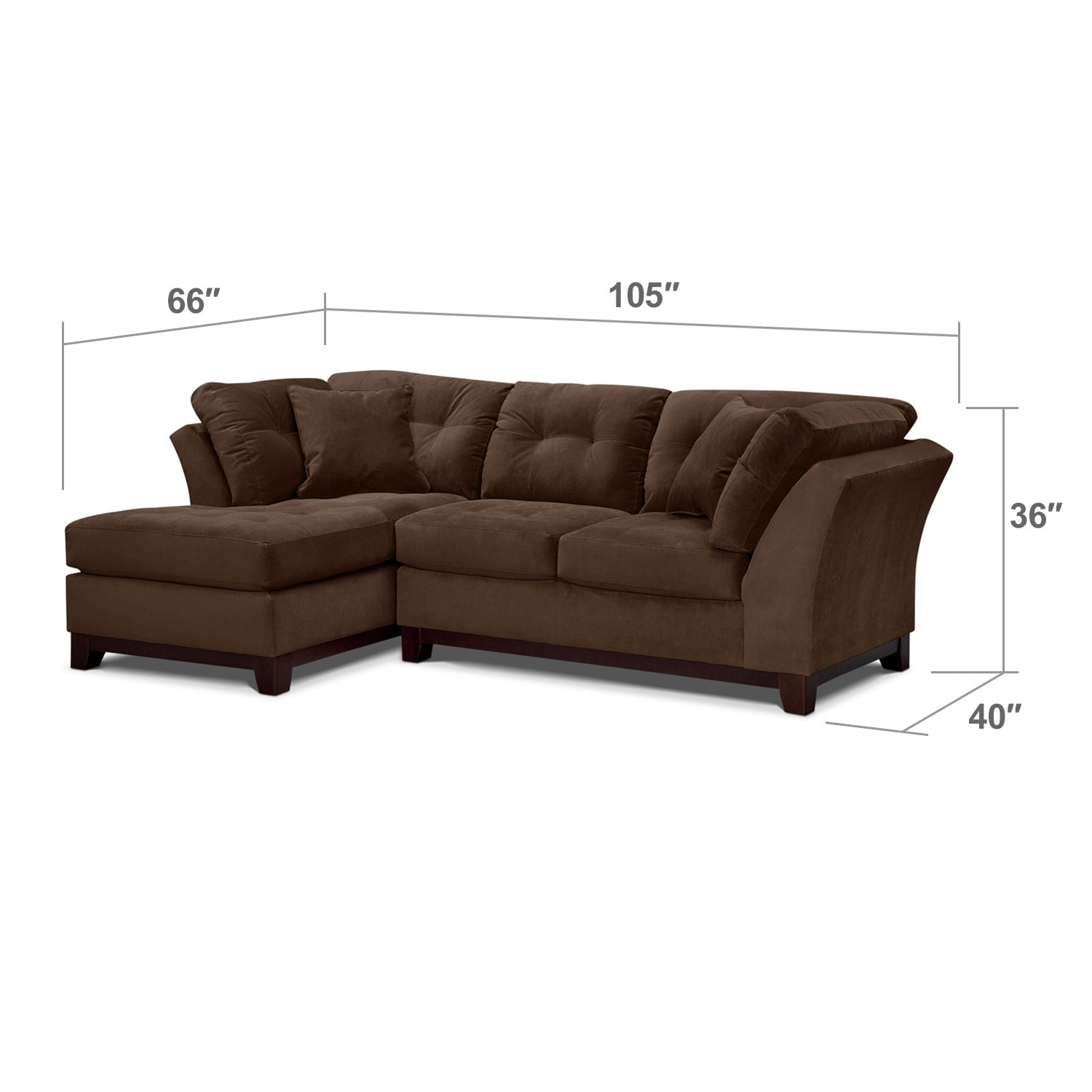 Living Room Furniture - Solace Chocolate II 2 Pc. Sectional (Alternate)