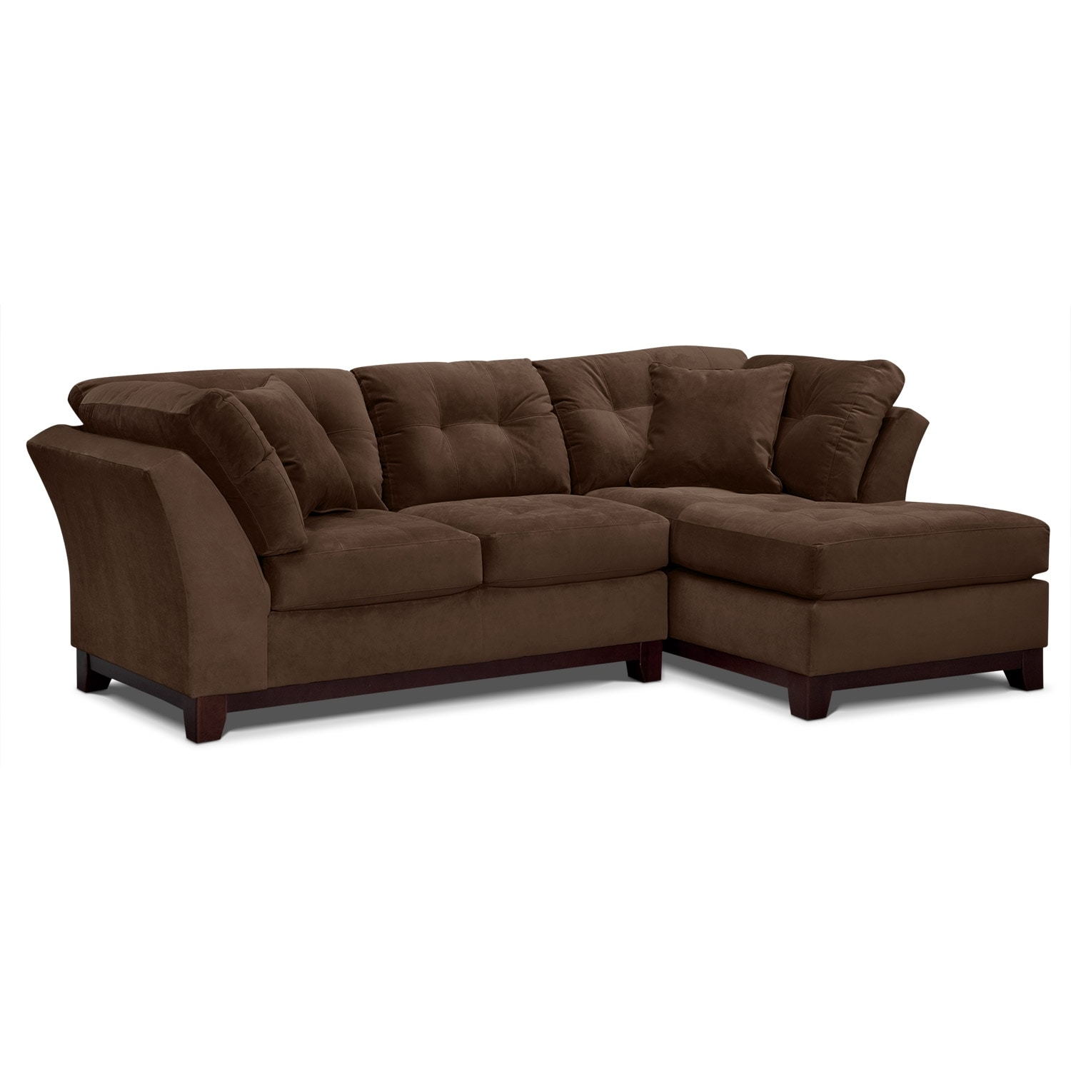 Living Room Furniture - Solace 2-Piece Right-Facing Chaise Sectional - Chocolate