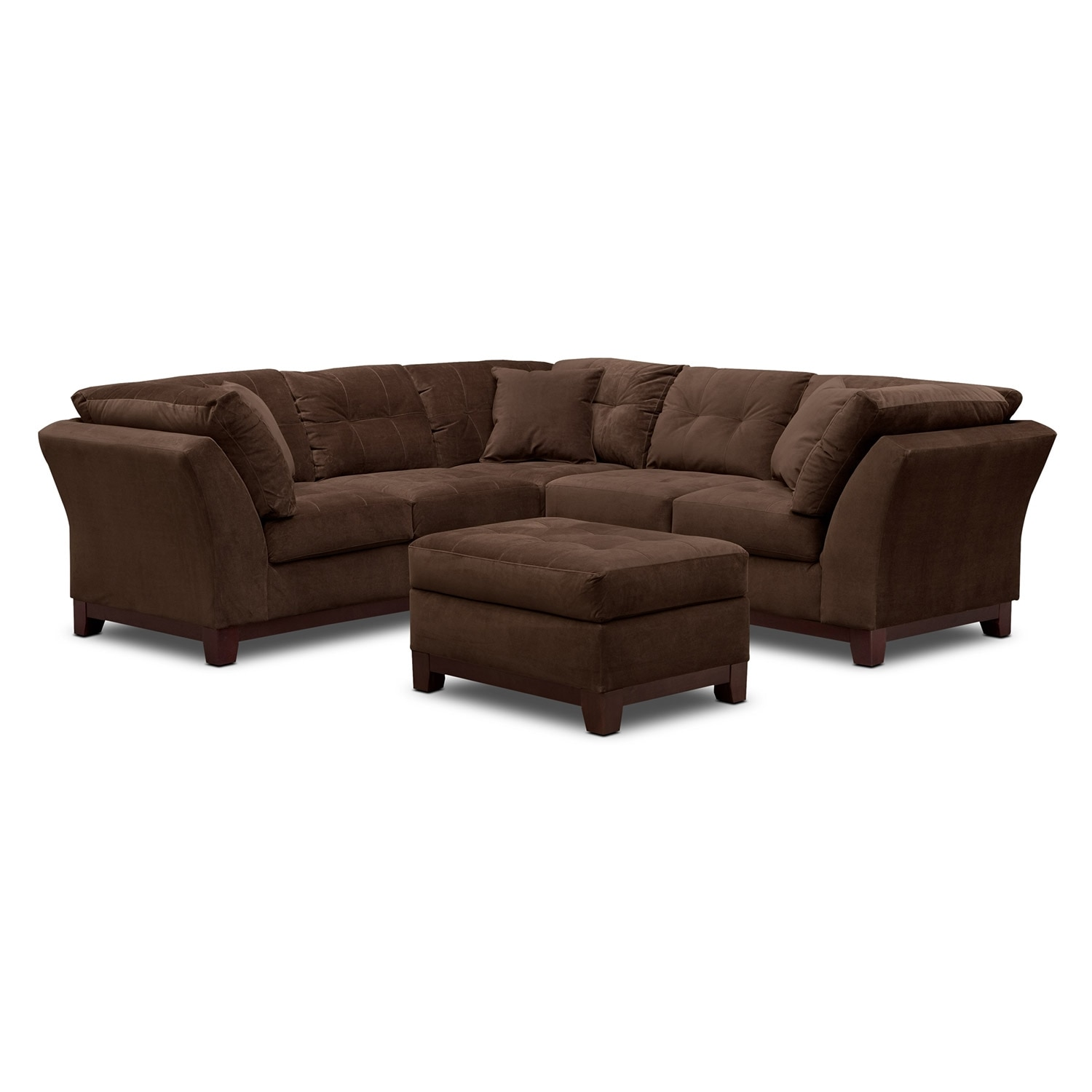 Solace Chocolate II 2 Pc. Sectional (Alternate II Reverse) and Ottoman