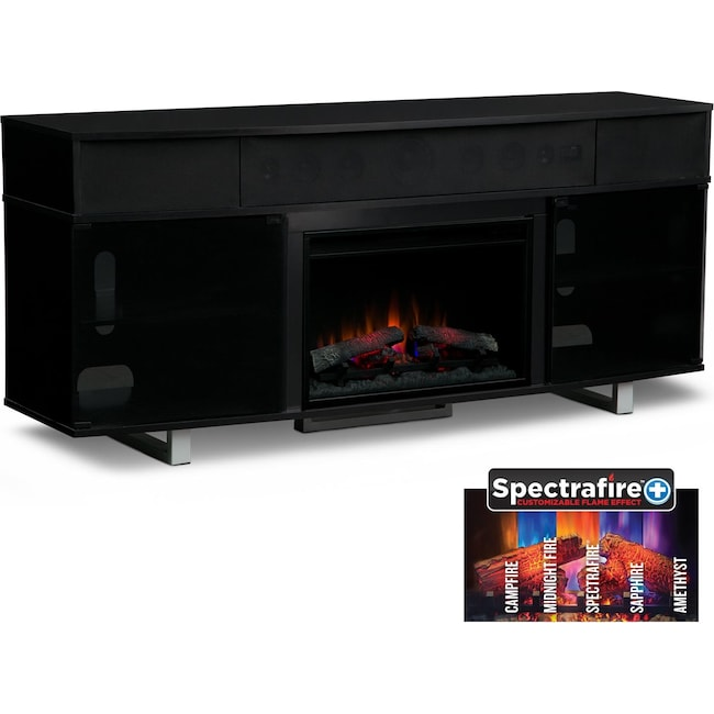 "Entertainment Furniture - Pacer 72"" Traditional Fireplace TV Stand with Sound Bar - Black"