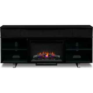 """Pacer 72"""" Traditional Fireplace TV Stand with Sound Bar - Black"""