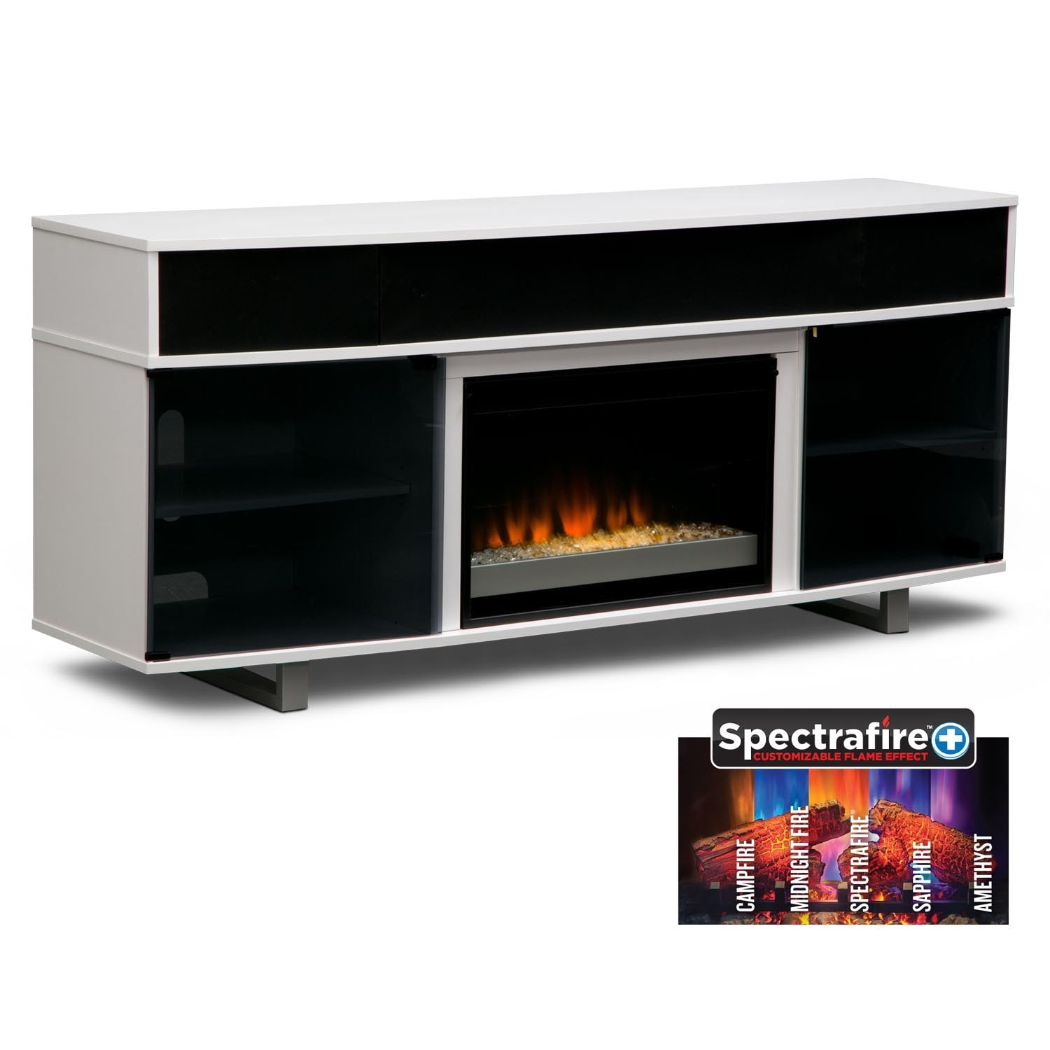 "Entertainment Furniture - Pacer 72"" Contemporary Fireplace TV Stand with Sound Bar - White"