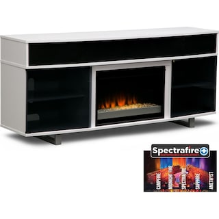 "Pacer 72"" Contemporary Fireplace TV Stand with Sound Bar - White"