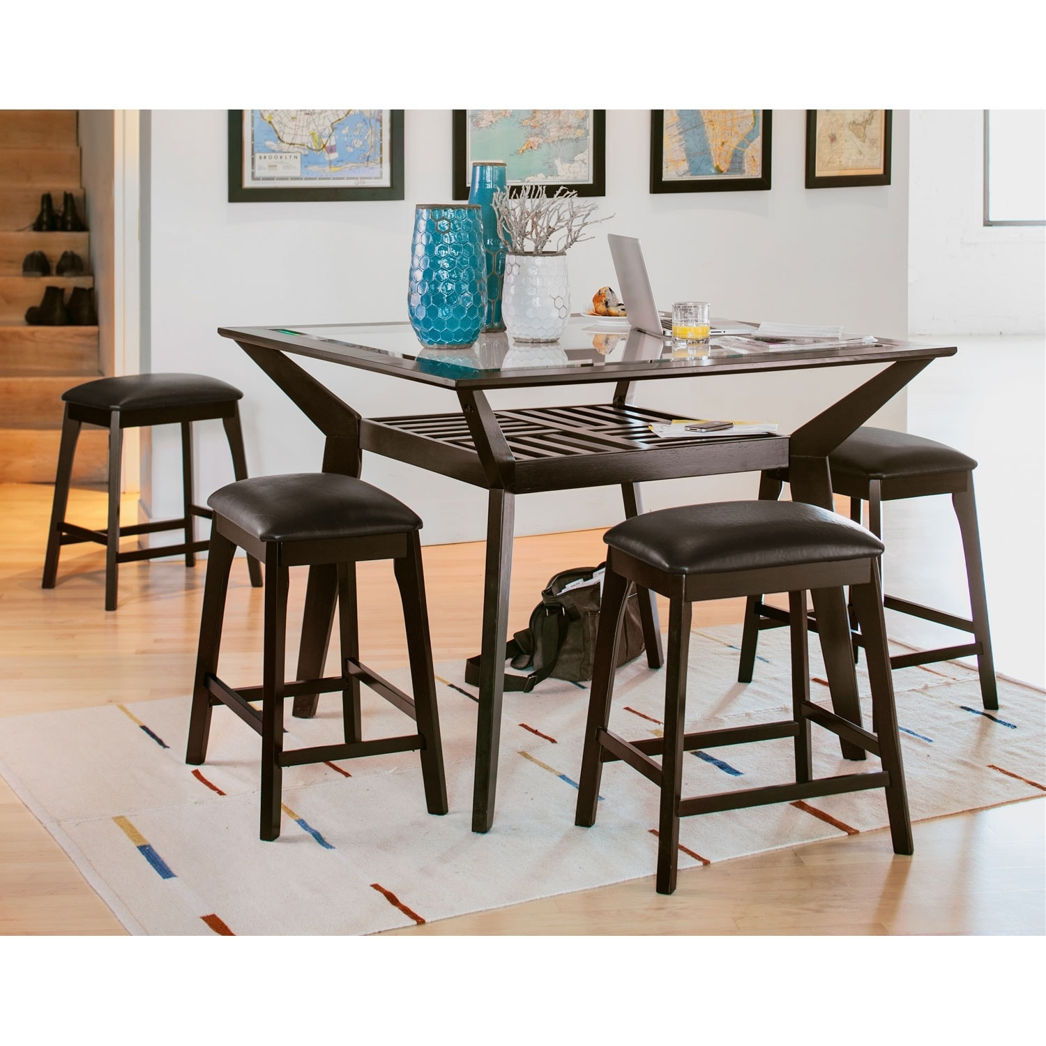 Mystic Counter Height Dining Table Merlot American Signature
