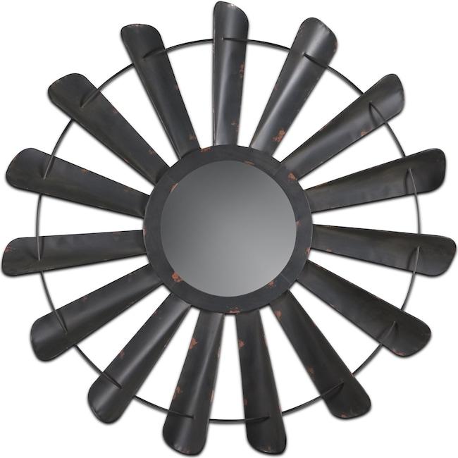 Home Accessories - Fan Blades Mirror - Vintage Antiqued Black