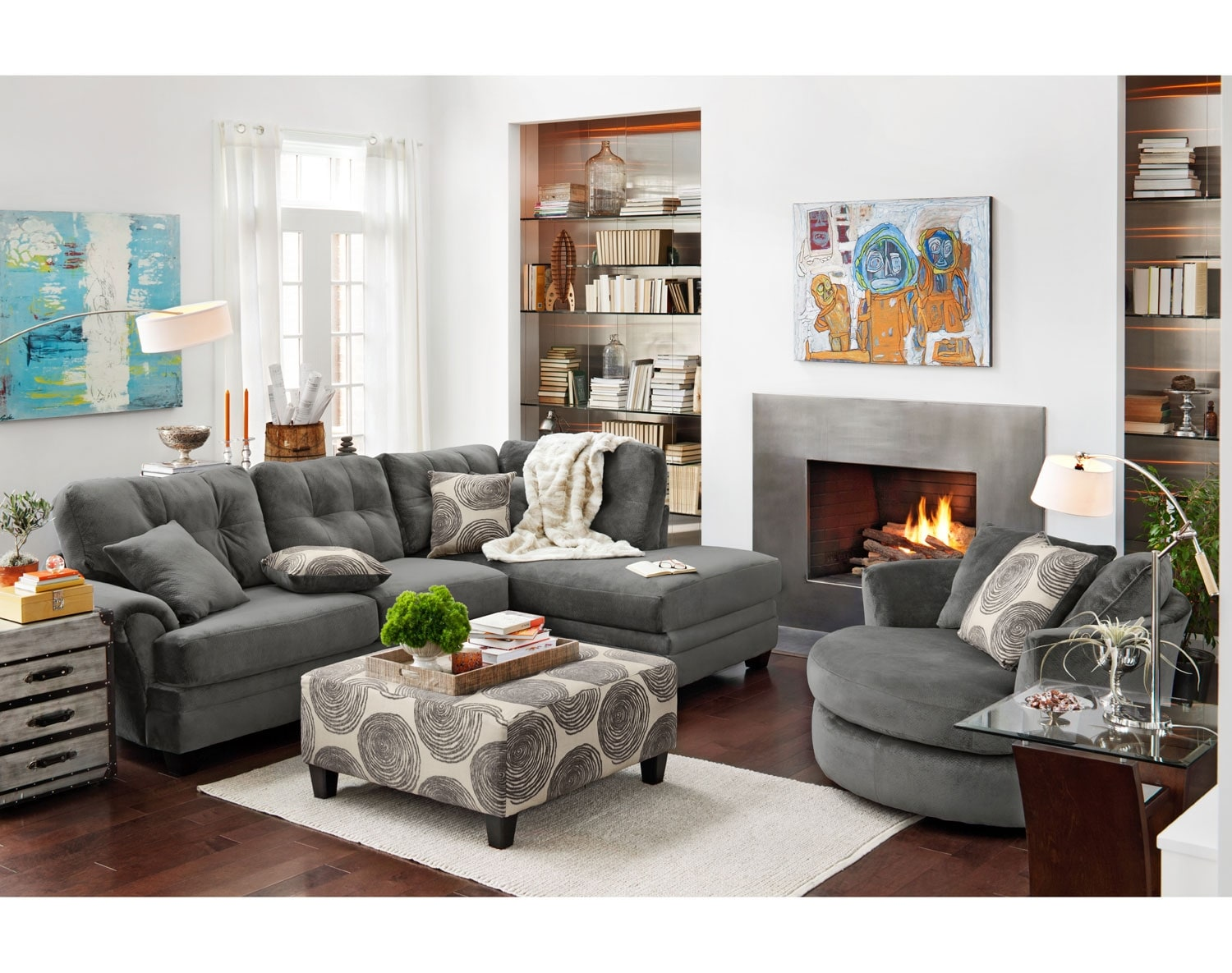 The Cordelle Sectional Collection Gray American
