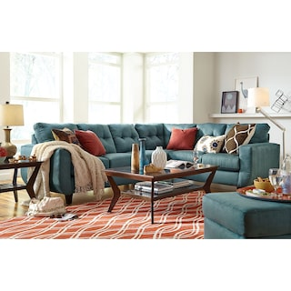 The West Village Sectional Collection - Blue