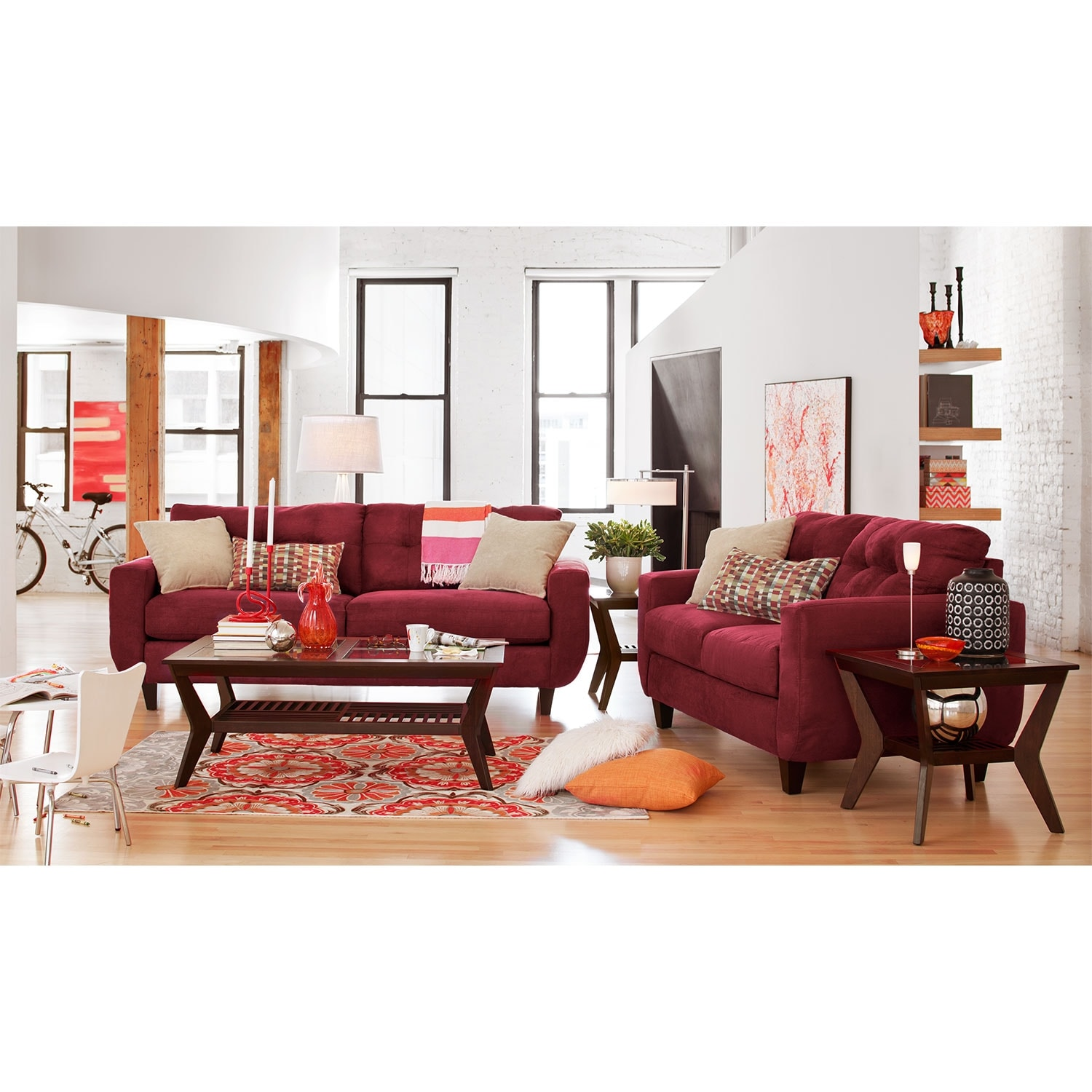 West Village Sofa And Loveseat Set Red American Signature Furniture