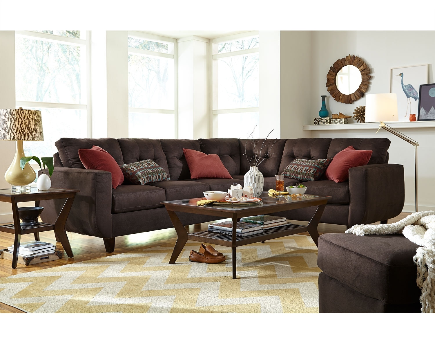The West Village Sectional Collection Chocolate American Signature Furniture