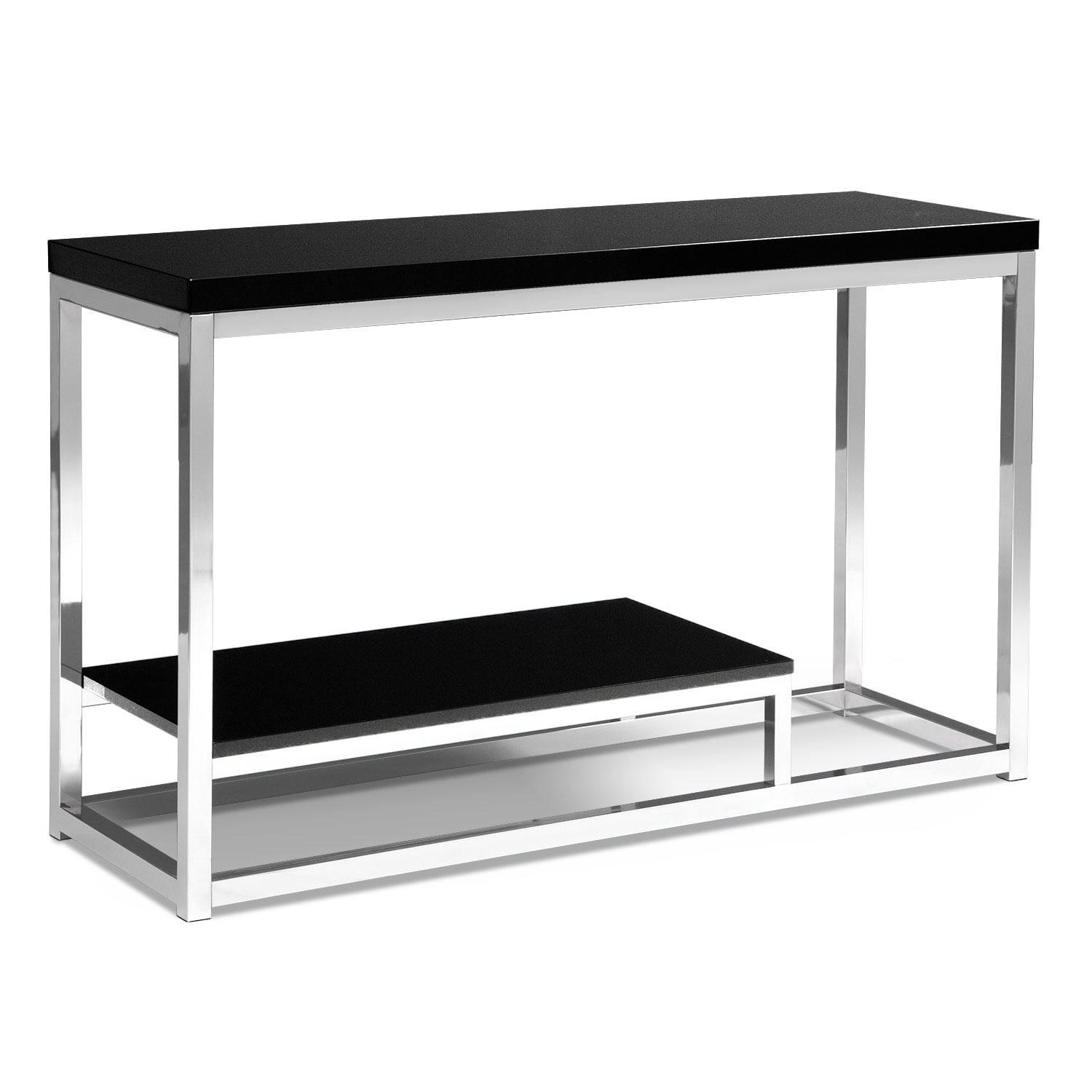 Accent and Occasional Furniture - Cielo Sofa Table - Chrome and Black
