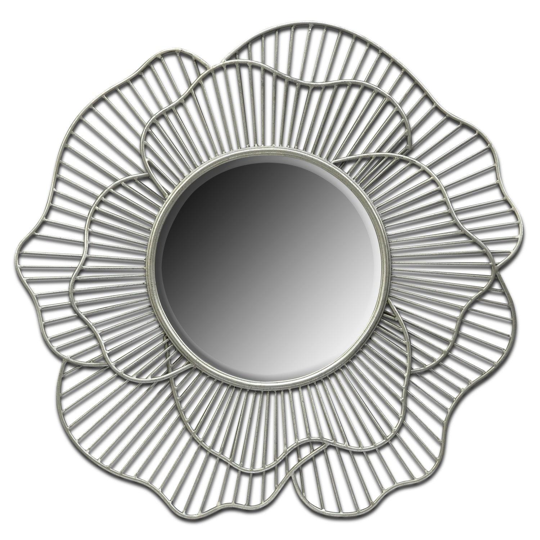 Home Accessories - Flower Mirror - Antique Silver