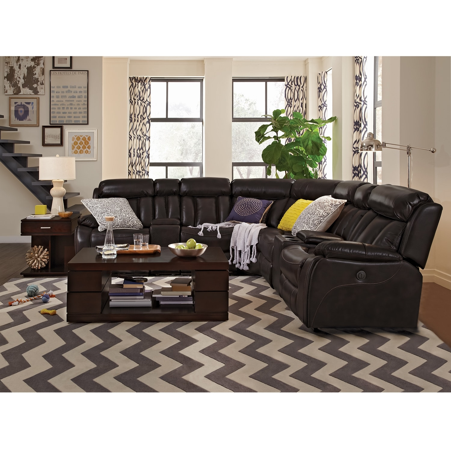 with reclining mocha buy hogan sectional sofa left chaise facing by