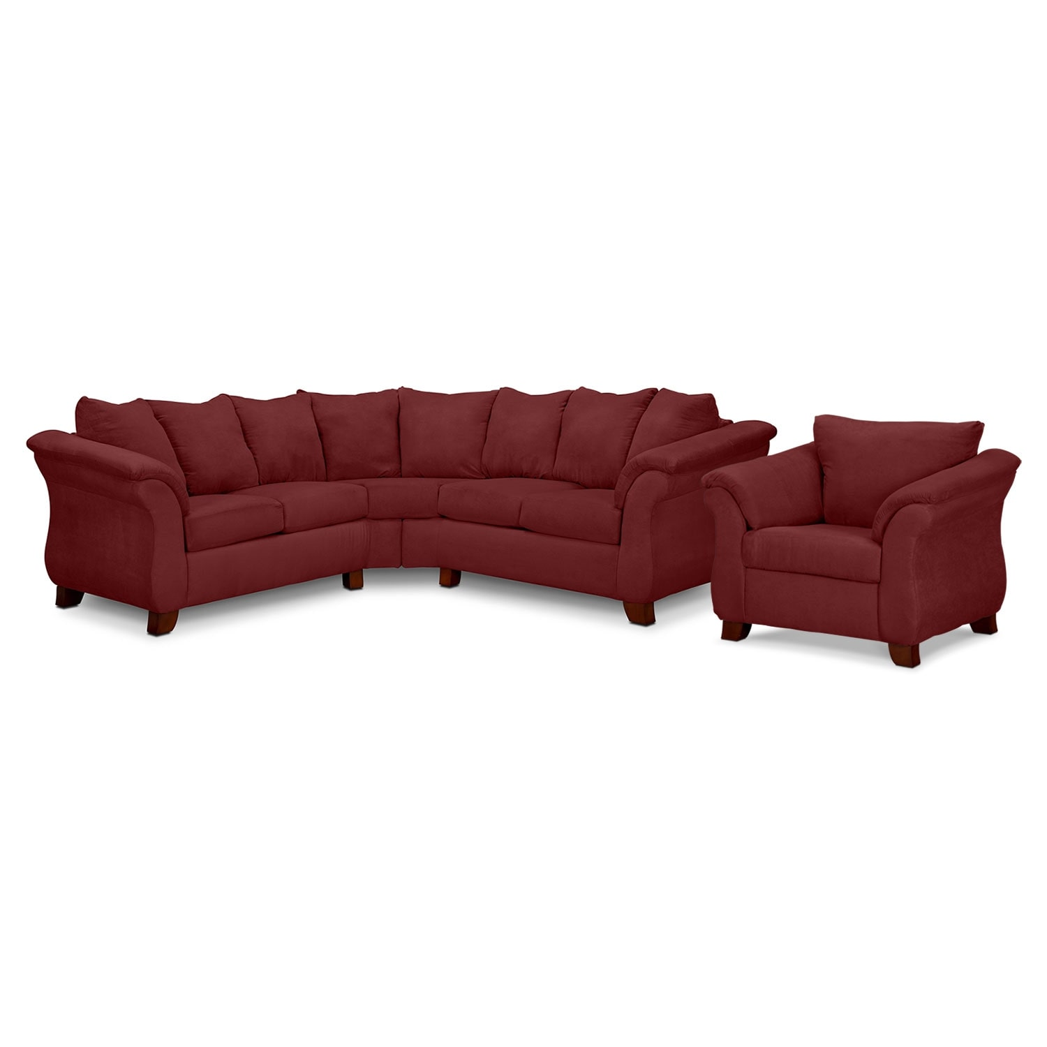 Living Room Furniture - Adrian Red 2-Piece Sectional and Chair Set - Red