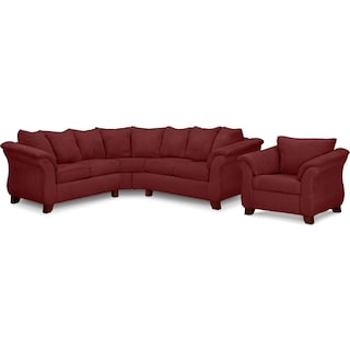 Adrian Red 2-Piece Sectional and Chair Set - Red