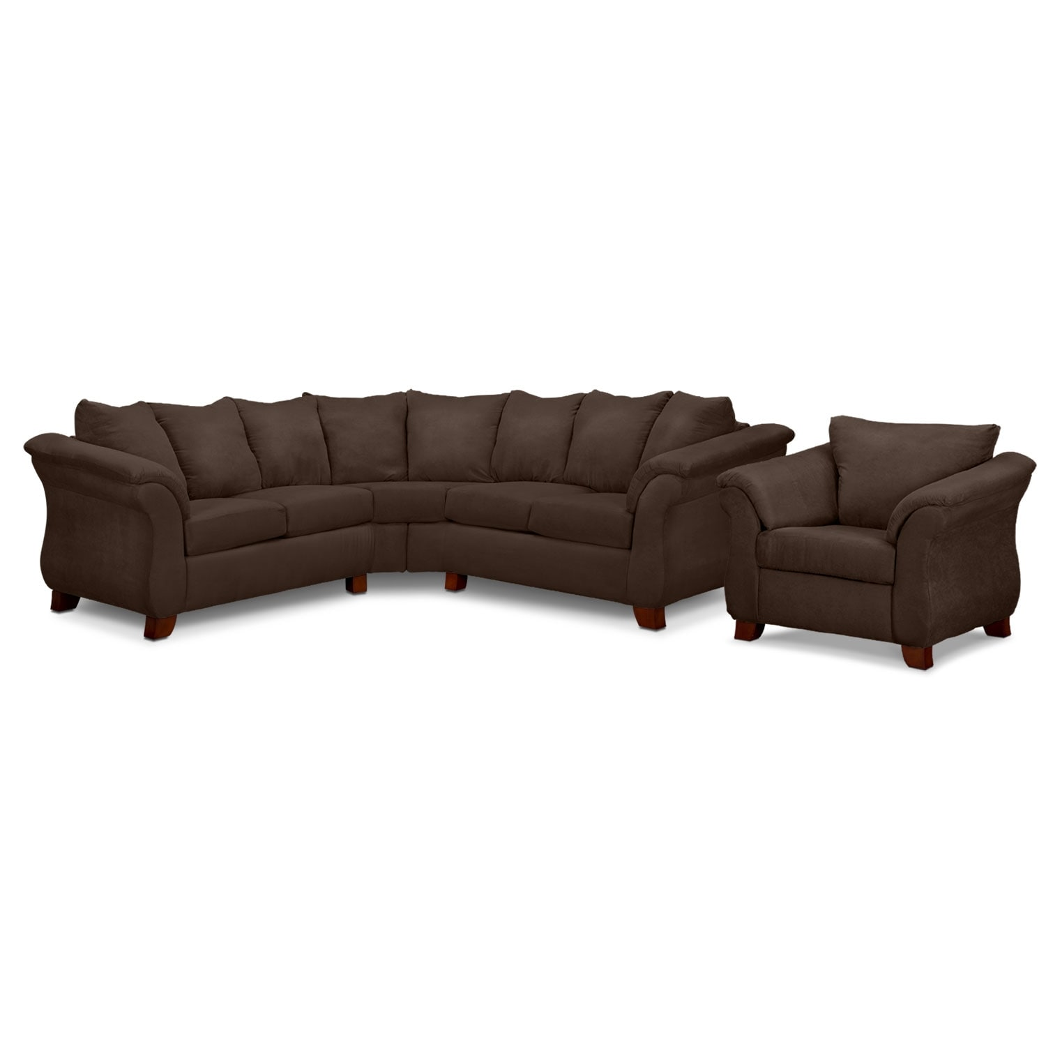 Living Room Furniture - Adrian 2-Piece Sectional and Chair Set - Chocolate