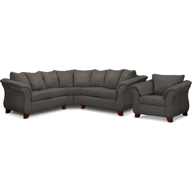 Living Room Furniture - Adrian 2-Piece Sectional and Chair Set- Graphite