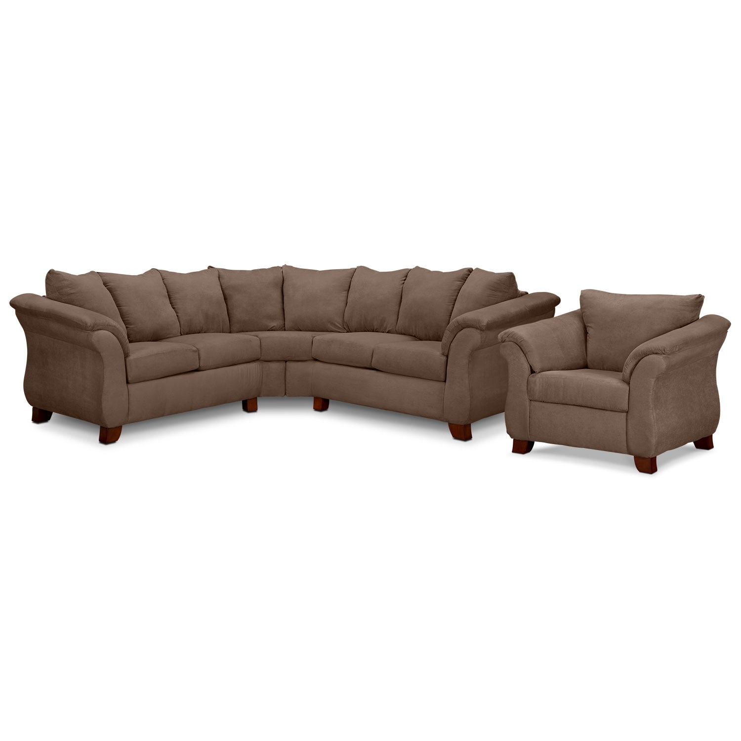 Living Room Furniture - Adrian Taupe II 2 Pc. Sectional and Chair