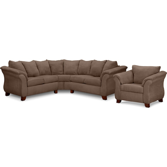 Living Room Furniture - Adrian 2-Piece Sectional and Chair Set - Taupe