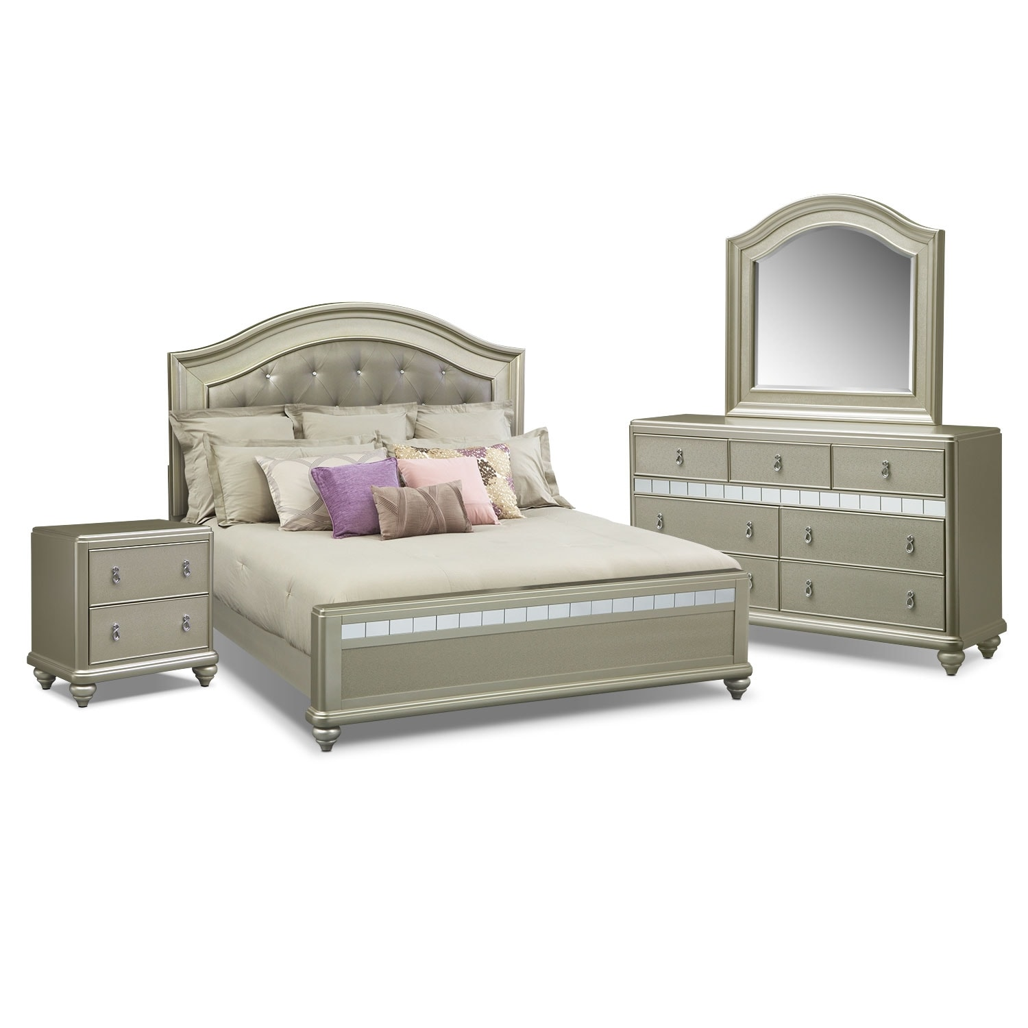 Bedroom Furniture - Serena King 6-Piece Bedroom Set - Platinum