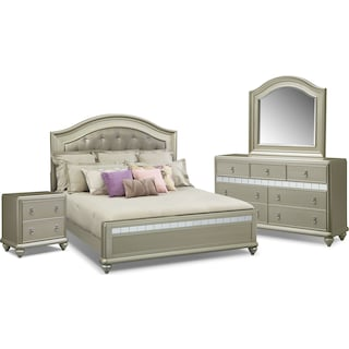 Serena King 6-Piece Bedroom Set - Platinum