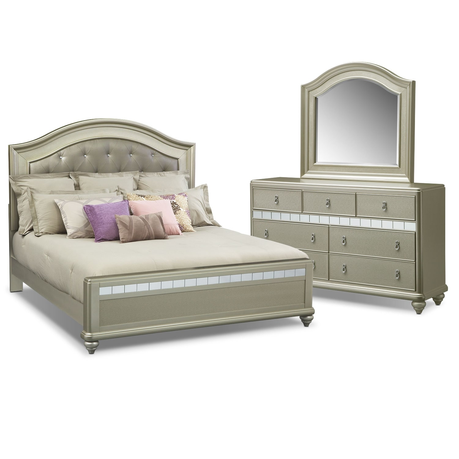 Bedroom Furniture - Serena King 5-Piece Bedroom Set - Platinum