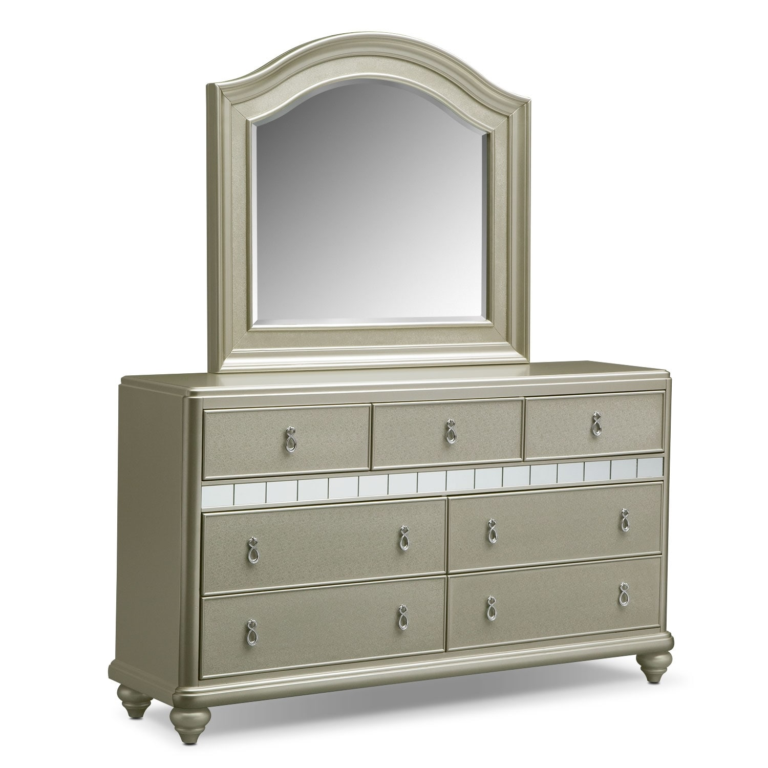 Serena Dresser and Mirror Set - Platinum
