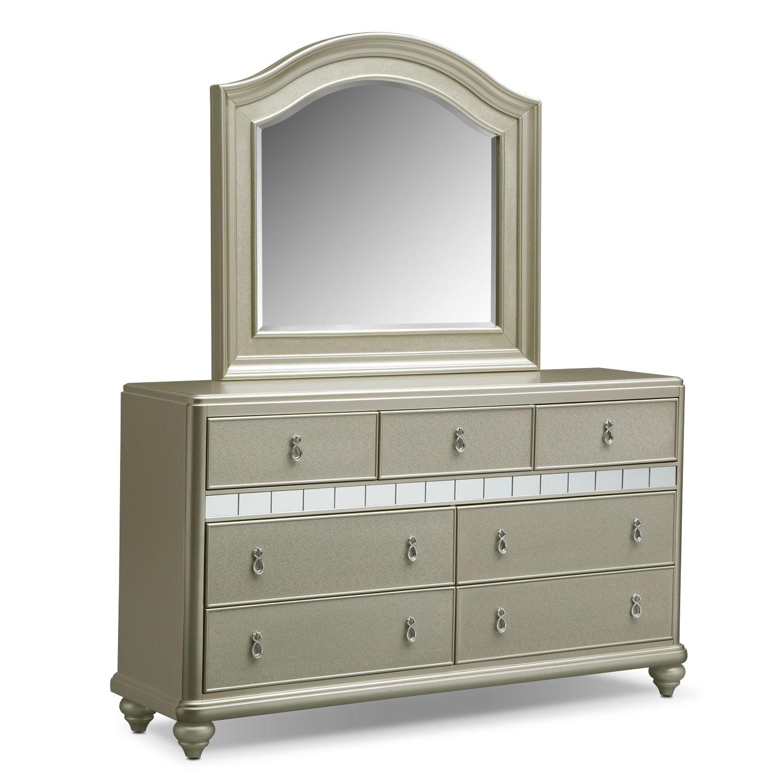 Bedroom Furniture - Serena Dresser and Mirror- Platinum