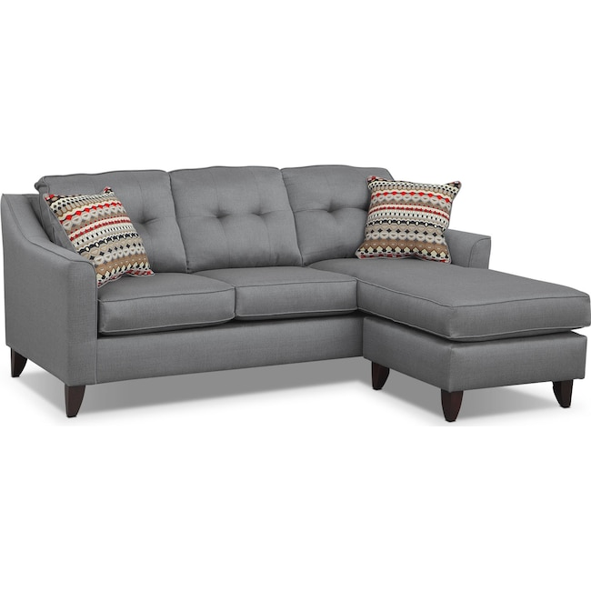Living Room Furniture - Marco Chaise Sofa - Gray