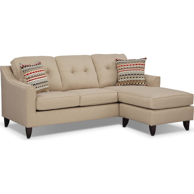 Living Room Furniture - Marco Chaise Sofa - Cream
