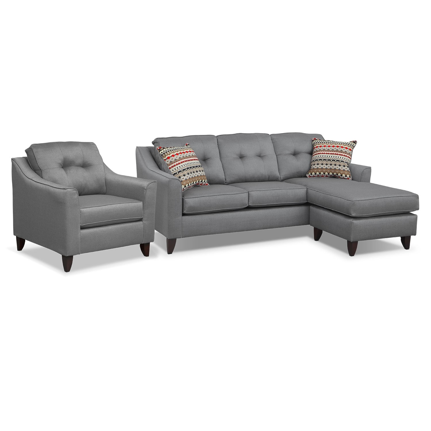 Marco Chaise Sofa And Chair Set Gray American Signature Furniture - American signature sofas