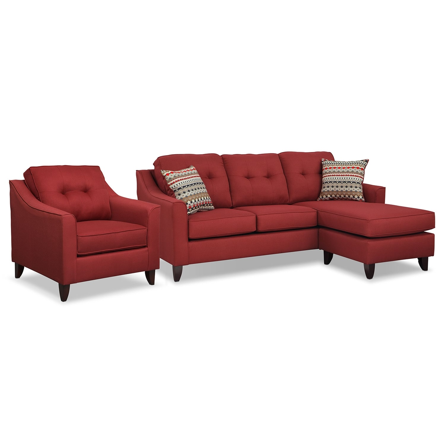 Living Room Furniture - Marco Red 2 Pc. Living Room w/ Chair