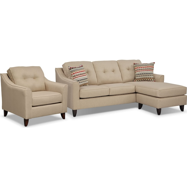 Living Room Furniture - Marco Chaise Sofa and Chair Set - Cream